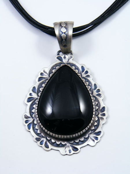 Navajo Sterling Silver Onyx Rope Necklace