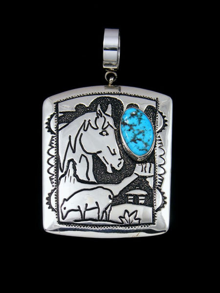 Native American Overlay Sleeping Beauty Turquoise Horse Pendant