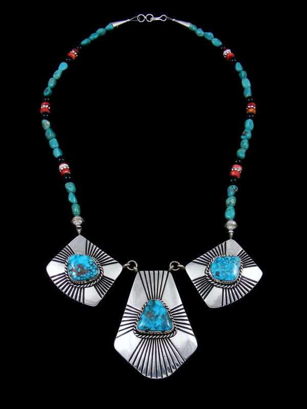 Sterling Silver Spiny Oyster and Turquoise Bead Necklace