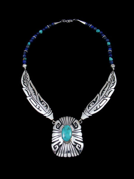 Sterling Silver Feather Lapis and Turquoise Bead Necklace