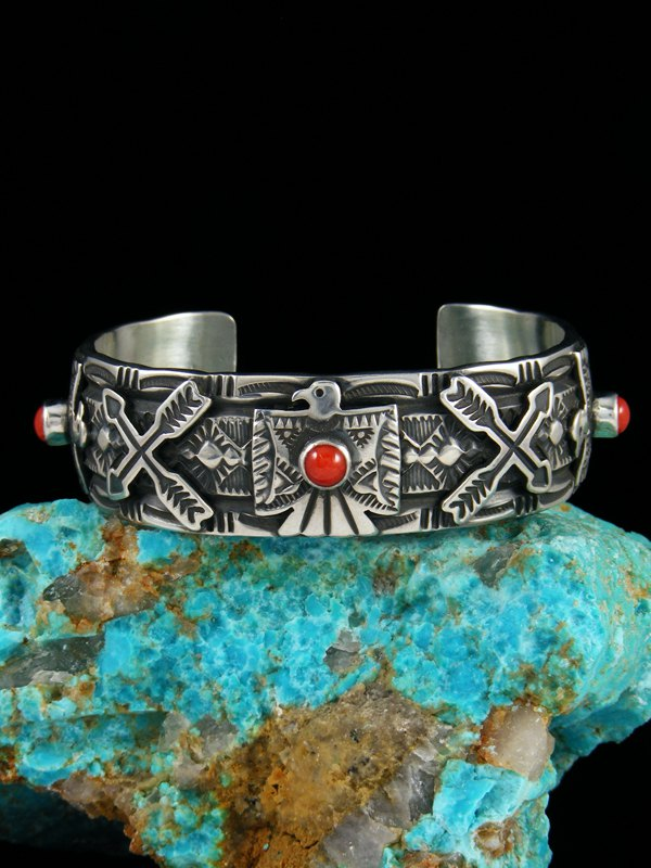 Native American Indian Jewelry Sterling Silver Coral Thunderbird Bracelet