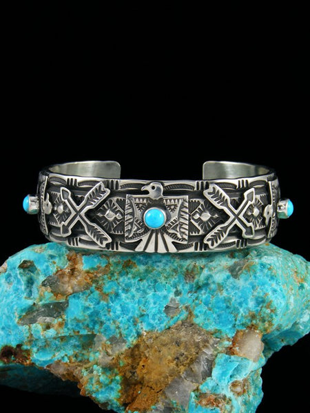 Native American Indian Jewelry Sterling Silver Turquoise Thunderbird Bracelet