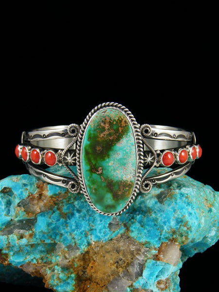 Native American Indian Jewelry Royston Turquoise and Coral Bracelet