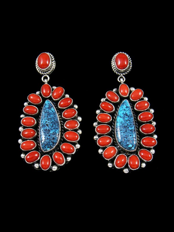 Kingman Black Web Turquoise and Coral Navajo Post Earrings