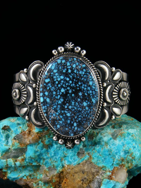 Native American Indian Jewelry Kingman Blackweb Turquoise Bracelet