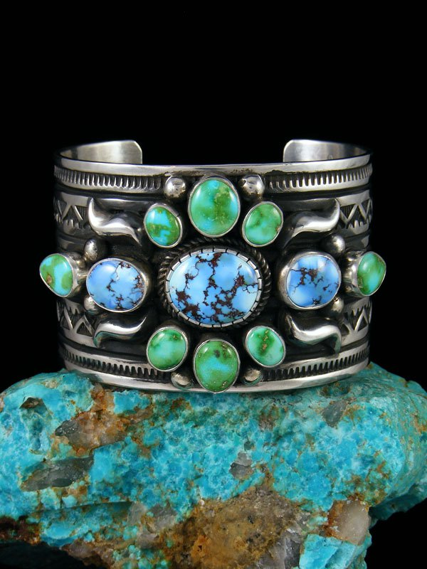Native American Sterling Silver Mixed Turquoise Cuff Bracelet