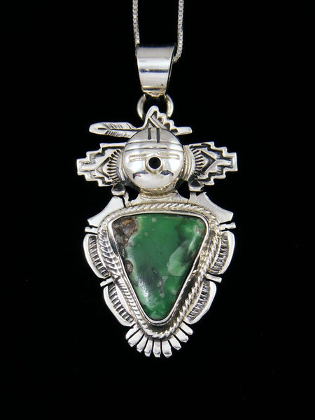 Native American Sterling Silver Variscite Kachina Pendant