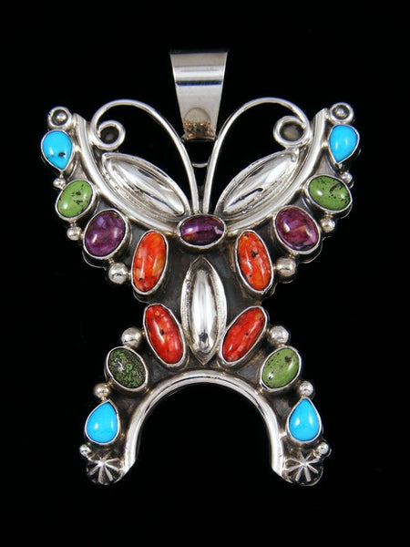 Navajo Spiny Oyster and Turquoise Sterling Silver Butterfly Pendant