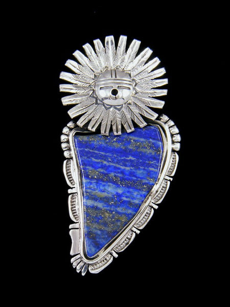 Native American Sterling Silver Lapis Kachina Pin Pendant