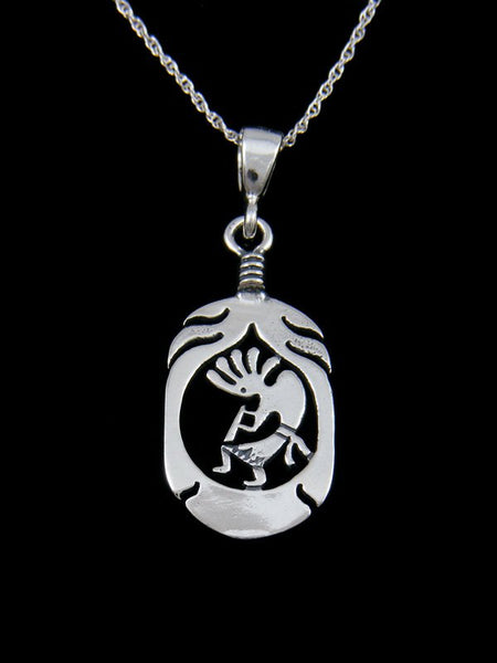 Native American Kokopelli Feather Pendant