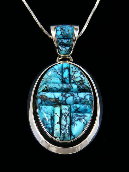 Native American Cloud Mountain Turquoise Cobblestone Inlay Pendant