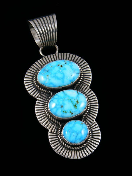 Native American Kingman Turquoise Cold Chisel Sterling Silver Pendant