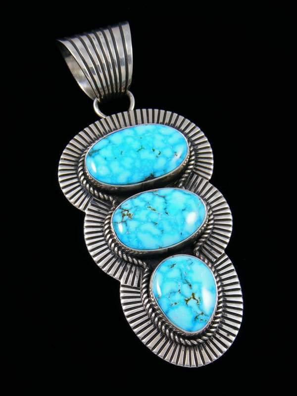 Native American Kingman Birdseye Turquoise Cold Chisel Sterling Silver Pendant