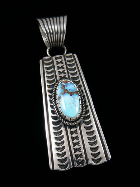 Native American Golden Hill Turquoise Sterling Silver Pendant