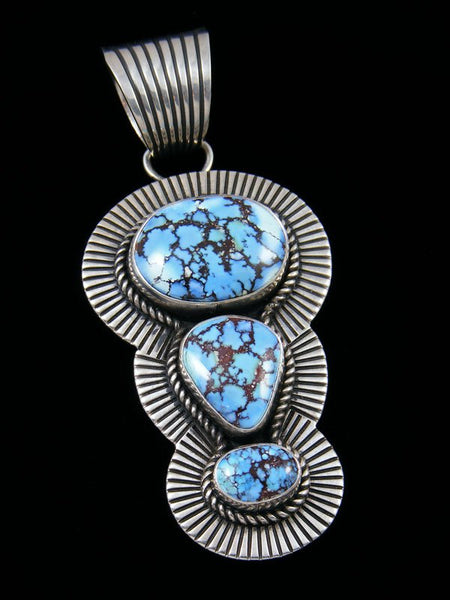 Native American Golden Hill Turquoise Cold Chisel Sterling Silver Pendant