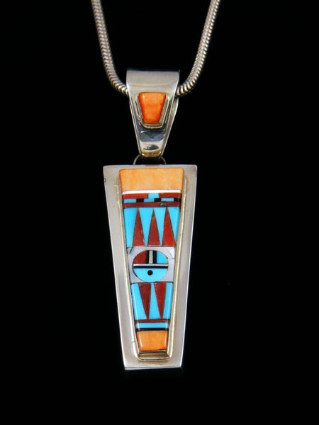 Estate Zuni Inlay Sterling Silver Sunface Pendant