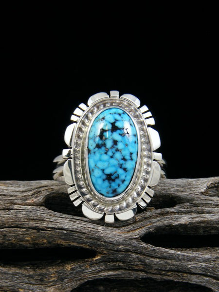 Kingman Black Web Turquoise Ring, Size 9