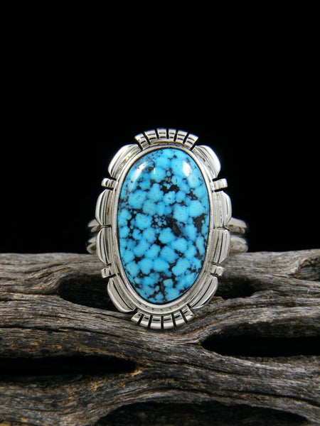 Kingman Black Web Turquoise Ring, Size 7 1/2