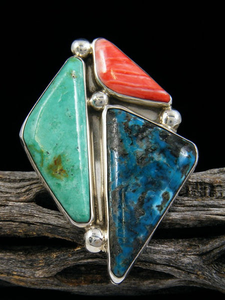 Kingman Turquoise and Coral Ring, Size 7 1/2
