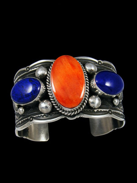 Native American Sterling Silver Lapis and Spiny Oyster Bracelet