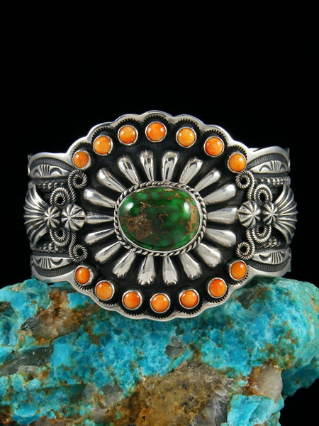 Navajo Jewelry Sterling Silver Carico Lake and Spiny Oyster Bracelet
