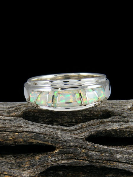 Cultured Opal Inlay Ring, Size 9