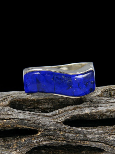 Lapis Inlay Ring, Size 9 1/2