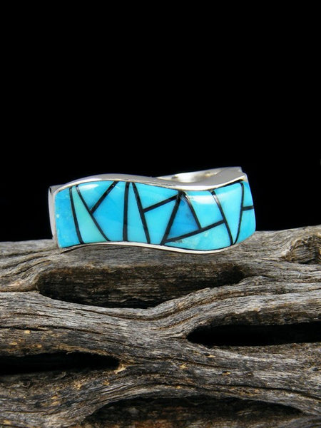 Turquoise Inlay Ring, Size 10