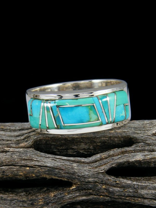 Turquoise Inlay Ring, Size 11
