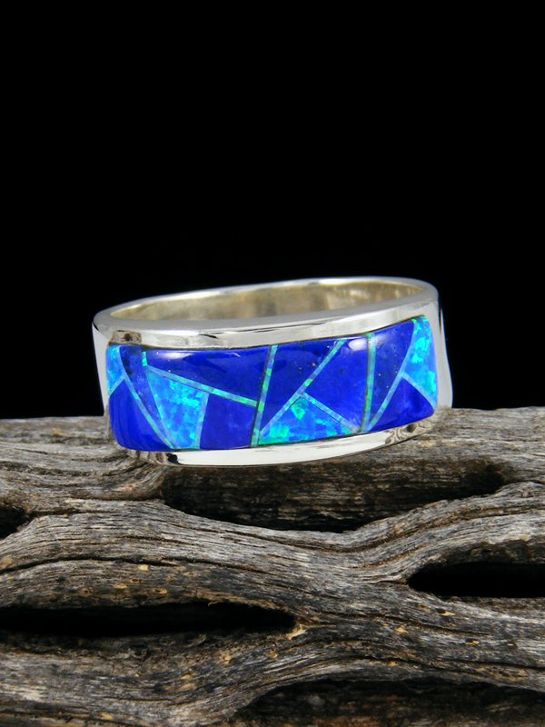 Lapis and Opal Inlay Ring, Size 11.5