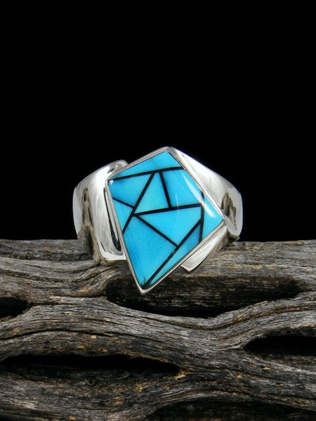Turquoise Inlay Ring, Size 7.5