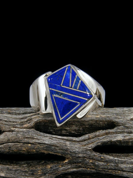 Blue Lapis Inlay Ring, Size 10