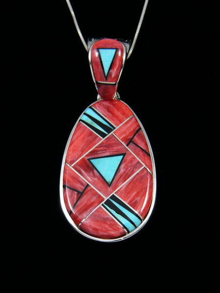 Reversible Spiny Oyster and Turquoise Navajo Inlay Pendant