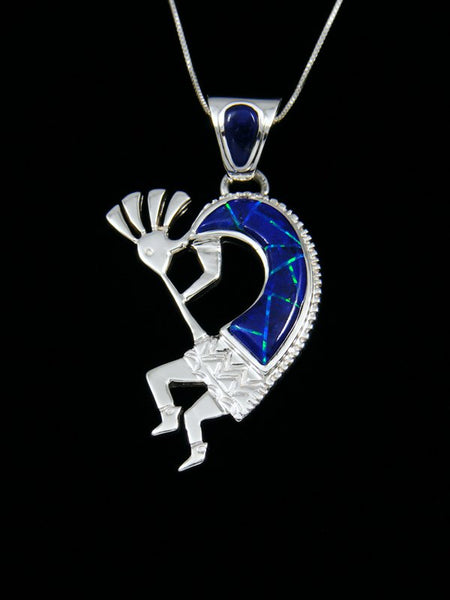 Native American Inlay Lapis and Opalite Kokopelli Pendant