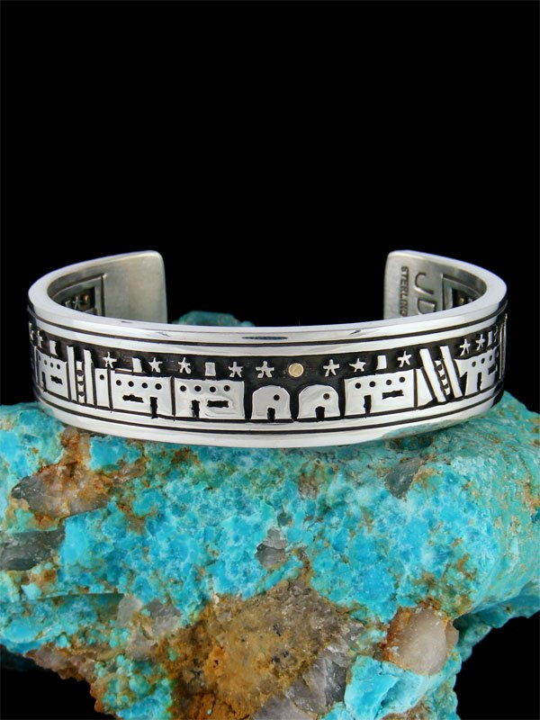 Native American Indian Sterling Silver Night Sky Pueblo Bracelet