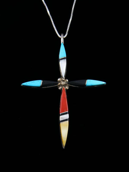Native American Zuni Inlay Cross Pendant