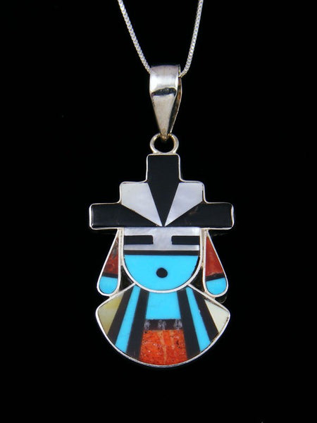 Sterling Silver Zuni Inlay Kachina Pendant