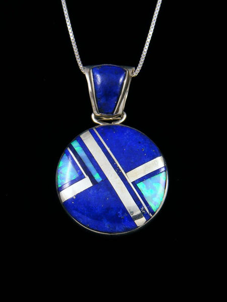 Native American Sterling Silver Lapis Inlay Pendant