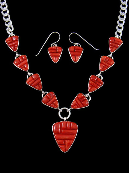 Navajo Cornrow Inlay Mediterranean Coral Necklace Set