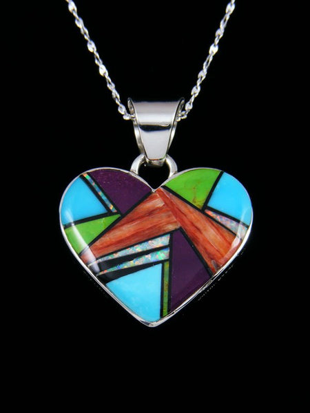 Navajo Turquoise Multi Stone Inlay Reversible Heart Pendant