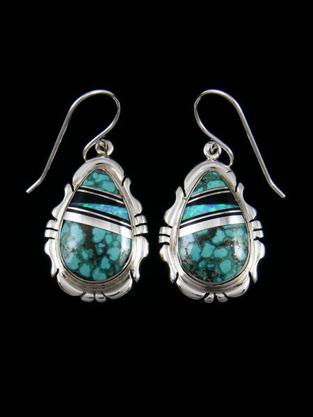 Native American Turquoise and Opal Inlay Dangle Earrings