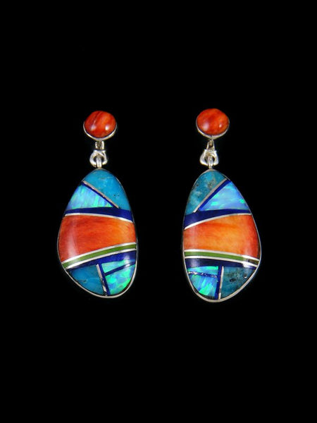 Native American Sterling Silver Spiny Oyster Inlay Post Earrings