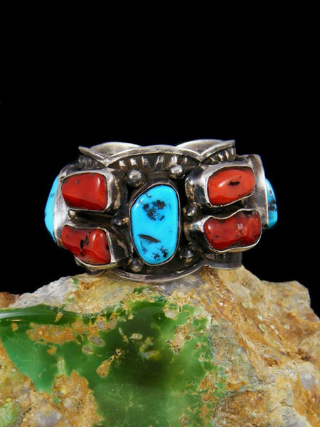 Kingman Turquoise and Coral Ring, Size 12