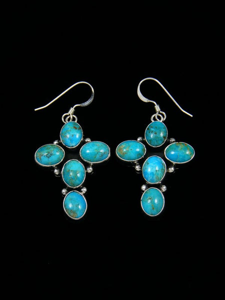 Sterling Silver Turquoise Cross Dangle Earrings