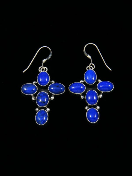 Sterling Silver Lapis Cross Dangle Earrings