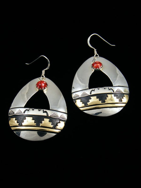 Navajo Sterling Silver Spiny Oyster Overlay Dangle Earrings