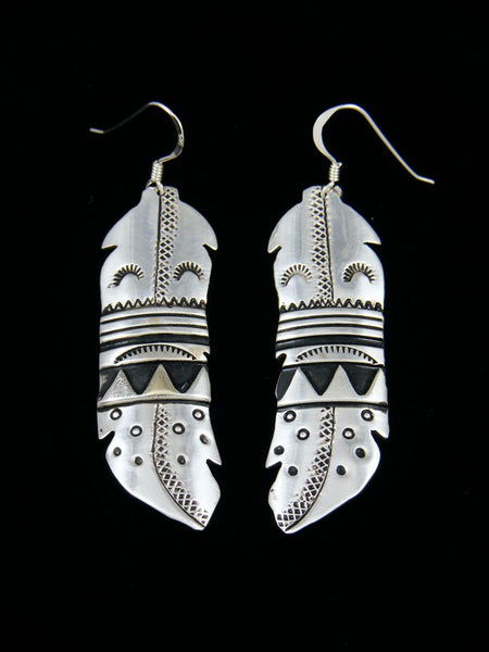 Sterling Silver Feather Overlay Earrings
