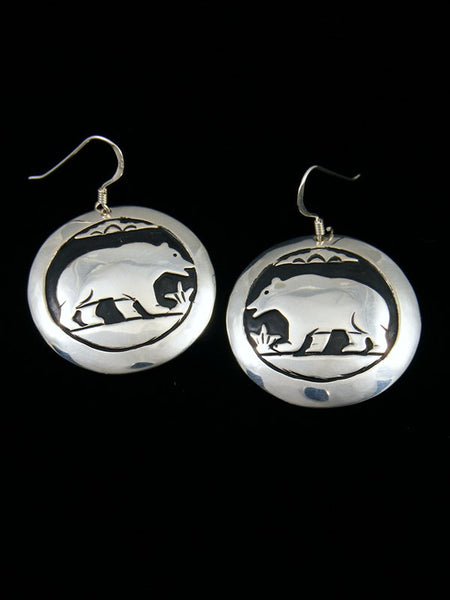 Navajo Sterling Silver Overlay Bear Dangle Earrings