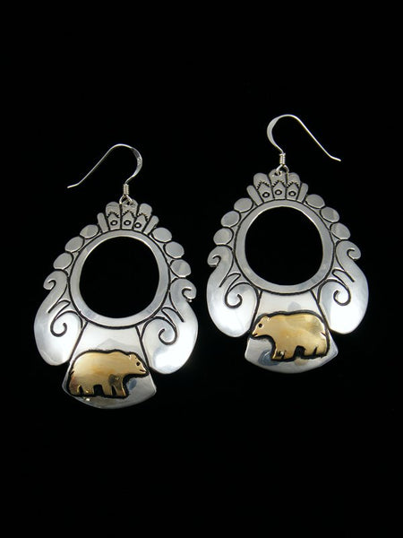 Navajo Sterling Silver and Gold Overlay Dangle Bear Earrings