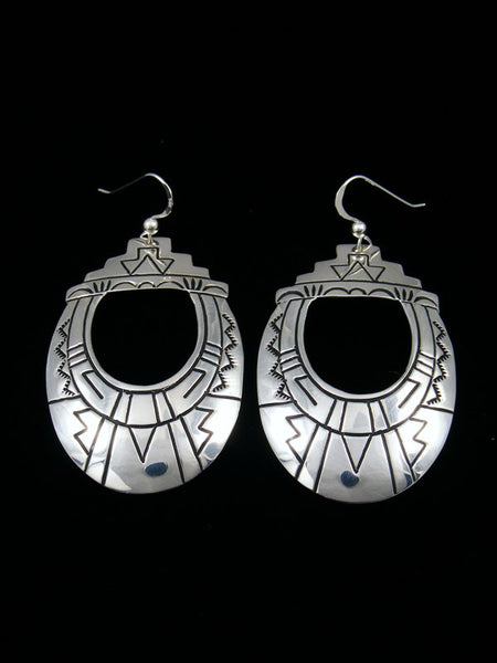 Navajo Sterling Silver Overlay Dangle Earrings